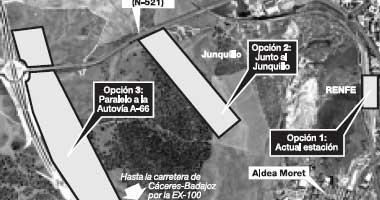 El Ministerio de Fomento plantea dejar la estación del AVE de Cáceres en su emplazamiento actual