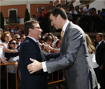 Su Alteza Real el Príncipe Don Felipe de Borbón recibe la medalla de Extremadura en un acto en Trujillo