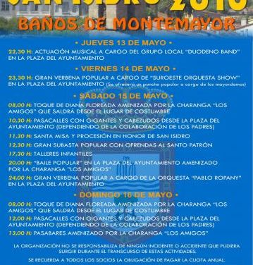 Baños de Montemayor celebrará las tradicionales fiestas de San Isidro del 13 al 16 de mayo