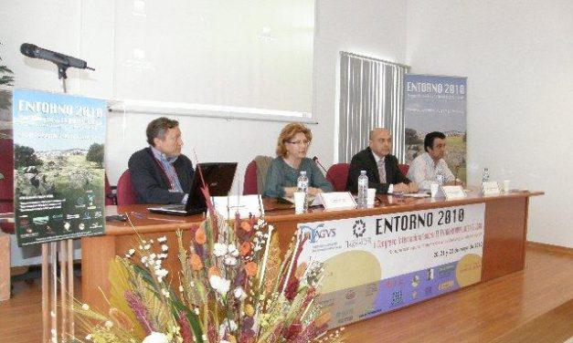"""La alcaldesa de Cáceres, Carmen Heras, modera una mesa redonda del congreso """"Entorno 2010"""" en el Casar"""
