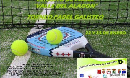 Galisteo acogerá los días 22 y 23 de enero el segundo torneo del Circuito de Pádel Valle del Alagón