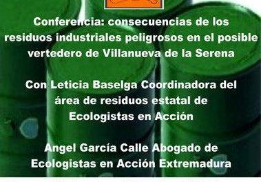 La Plataforma Ciudadana contra el Vertedero Industrial de Villanueva de la Serena organiza un debate