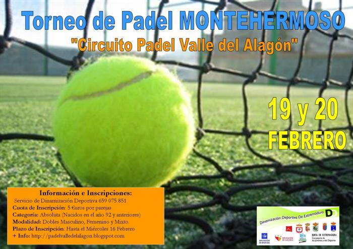 """Montehermoso acogerá el fin de semana del 19 y 20 de febrero el tercer torneo de pádel """"Valle del Alagón"""""""