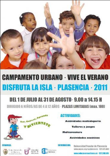 El III Campamento Urbano de Plasencia en La Isla abre el periodo de inscripciones para niños de 4 a 12 años