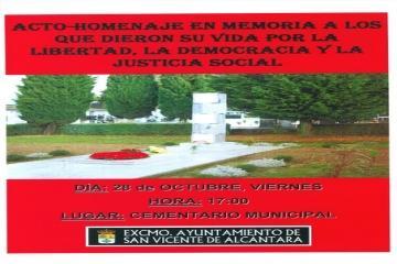 San Vicente de Alcántara rendirá homenaje a los fallecidos en defensa de la libertad y la justicia social