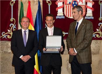 El portero cauriense César Sánchez Domínguez recibe el premio Extremadura del Deporte 2010