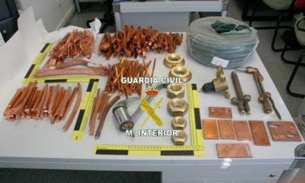 La Guardia Civil detiene a ocho personas acusadas de robar más de 1.382 kilos de cobre