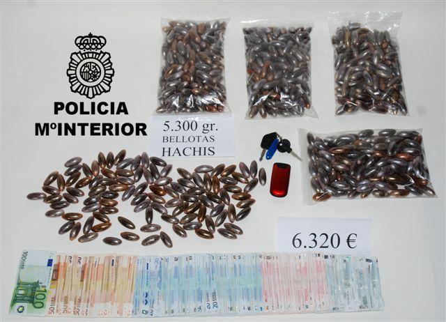 La Policía Nacional detiene en Mérida a un joven que portaba en su vehículo 5.296 gramos de hachís