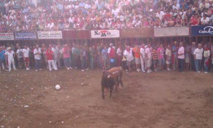 La lidia del astado de la Peña Juventud Cauriense finaliza sin heridos por asta de toro en la plaza de España