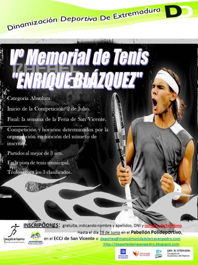 San Vicente de Alcántara acoge hasta septiembre el V Memorial de tenis Enrique Blázquez Entonado