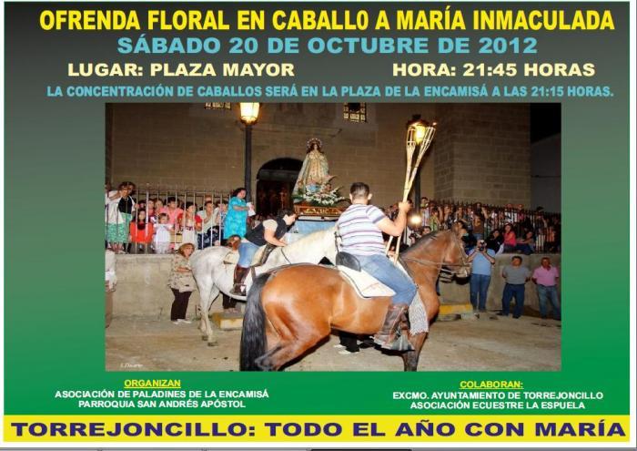Torrejoncillo celebrará este sábado una ofrenda floral a María Inmaculada como acto previo a la Encamisá
