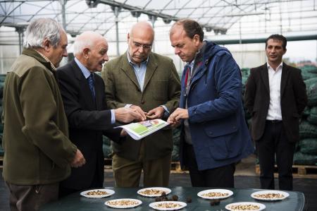 Monago subraya que el 20% de la producción mundial de nueces tiene su origen en Extremadura