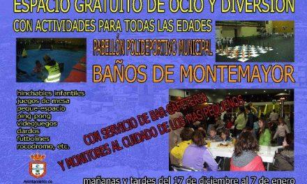 Baños de Montemayor ofrece hasta Reyes un espacio de ocio y diversión para niños en el pabellón deportivo