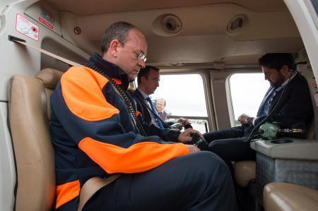 Monago realiza una primera evaluación de los daños causados por las lluvias tras un reconocimiento aéreo