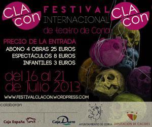 """El Festival Internacional de Teatro de Coria """"Clacon"""" contará con  las actuaciones de seis compañías de teatro"""