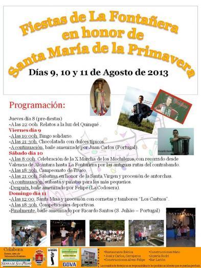 La Fontañera celebrará las fiestas de Santa María de la Primavera del 9 al 11 de agosto