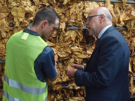 Echávarri inaugura un secadero de tabaco e insiste en la necesidad de la unidad en defensa del sector