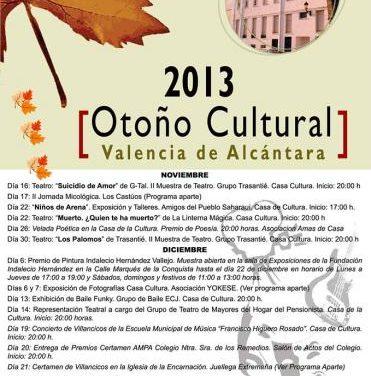 El otoño cultural llega a Valencia de Alcántara con más de 20 actividades para todas las edades