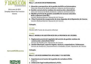 Unas jornadas abordarán en Cáceres la gestión de los residuos de construcción y demolición en la provincia