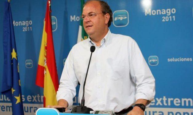 """Monago recalca a Vara que PP y PSOE no son """"iguales"""" en alusión a la candidatura de Pepe Blanco a las elecciones europeas"""