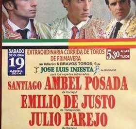Ambel Posada, Emilio de Justo y Julio Parejo se darán cita en la Plaza de Toros de Valencia de Alcántara