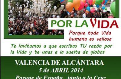 Los habitantes de Valencia de Alcántara soltarán 1000 globos este sábado en el encuentro por la vida