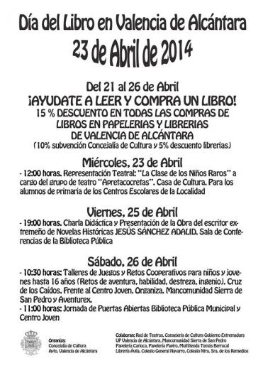 Valencia de Alcántara contará con la presencia del escritor extremeño Sánchez Adalid en el Día del Libro