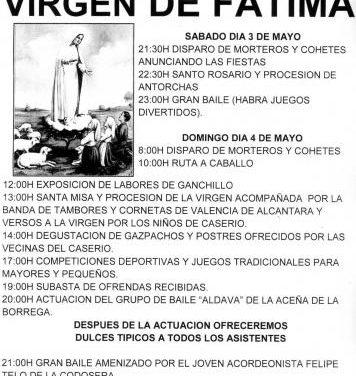 Las Lanchuelas, pedanía de Valencia de Alcántara, acoge este sábado las fiestas en honor a la Virgen de Fátima
