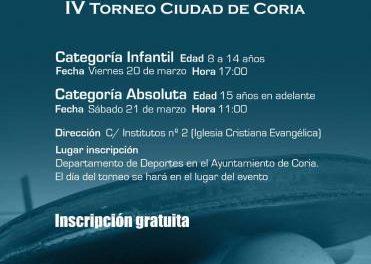 """La Asociación Klesis de Coria organiza en marzo  el IV Torneo de Tenis de mesa """"Ciudad de Coria"""""""