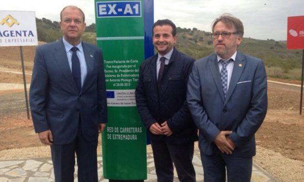 José Antonio Monago inaugura el tramo de la vía EX–A1 que une Coria con  Moraleja