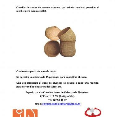 El Espacio para la Creación Joven de Valencia de Alcántara acogerá en mayo un taller de cestería