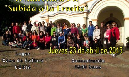 """Deporte y salud se unen en la XV edición de la marcha a pie """"Subida a la Ermita"""" que se celebrará en Coria"""