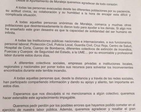 """El Ayuntamiento de Moraleja agradece a los evacuados por el incendio de Sierra de Gata su """"civismo y humildad"""""""