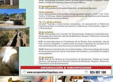 Extremadura se suma durante septiembre y octubre a las Jornadas Europeas de Patrimonio