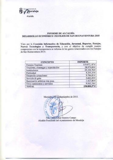 El Ayuntamiento de Moraleja hace pública la relación de gastos de las fiestas de San Buenaventura