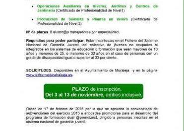 El Ayuntamiento de Moraleja recuerda que ya está abierto el plazo de inscripción del programa Aprendizext