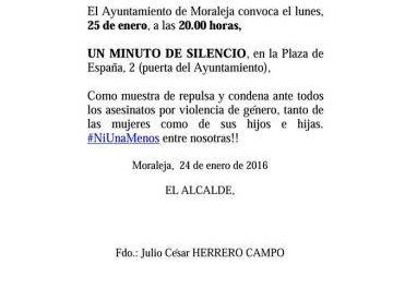 El Ayuntamiento de Moraleja convoca este lunes un minuto de silencio contra la violencia machista