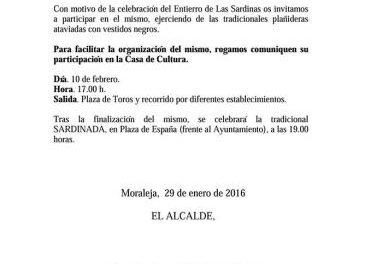 El Ayuntamiento de Moraleja anima a la ciudadanía a participar en el tradicional entierro de la sardina