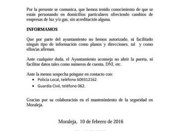 El Ayuntamiento de Moraleja detecta a supuestos agentes de compañías de luz y gas que actúan sin acreditación