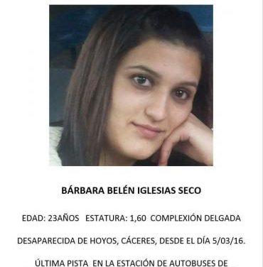 Buscan a una joven de la localidad de  Hoyos desaparecida desde este fin de semana en Cáceres