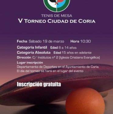 Coria acogerá este sábado el V Torneo de Tenis de Mesa organizado por la Asociación Klesis