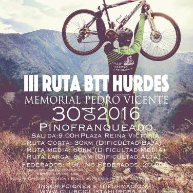 Pinofranqueado acogerá el próximo 30 de abril la III Ruta  BTT Hurdes-Momorial Podro Vicente