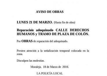 El Ayuntamiento de Moraleja cortará al tráfico varias vías a partir de este lunes por las obras de adoquinado