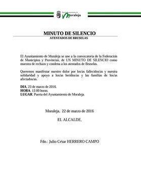 Moraleja convoca un minuto de silencio este miércoles como rechazo a los atentados de Bruselas