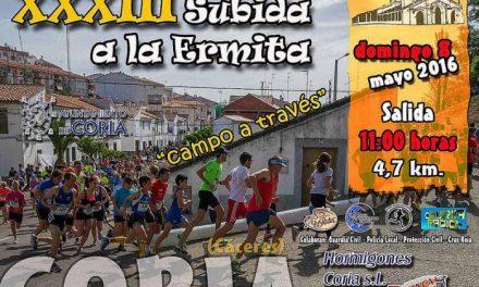 La XXXIII Subida a la Ermita Campo a Través de Coria espera reunir a cientos de participantes el 8 de mayo