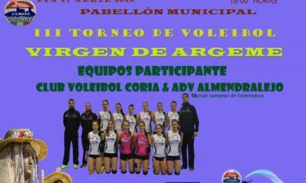 El pabellón municipal de Coria acogerá este domingo el III Torneo de Voleibol Virgen de Argeme