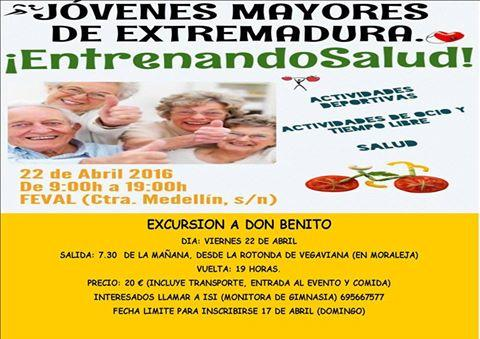 """Los mayores de Moraleja podrán participar el día 22 en Don Benito en el encuentro """"Entrenando Salud"""""""