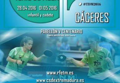Cáceres acoge este fin de semana el Campeonato de España infantil y cadete de Tenis de Mesa