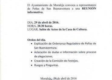 Moraleja acercará a la ciudadanía la normativa de las peñas de San Buenaventura este viernes