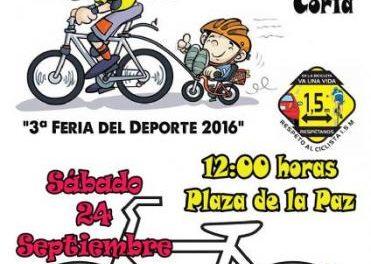 El Club Ciclista Cauriense organiza una marcha urbana el día 24 con motivo de la Feria del Deporte